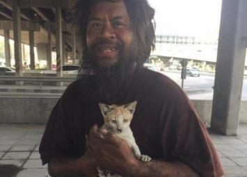 Мужчина зарабатывает деньги каждый день, чтобы накормить бездомных кошек.