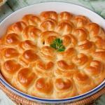 """Пирог с мясом """"Хризантема""""очень нежный и вкусный"""